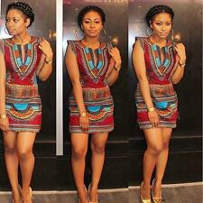 Fashion Women Summer Casual Sleeveless Traditional African Print Party Dress NEW