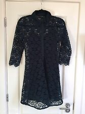 Gorgeous Women's Zara Forest Green Floral Lace Shirt Dress Size M Worn Once