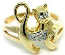 Natural Pussy Cat Diamond 9K 9ct 9K Solid Gold Ring - Free Ship, 30 Day Refunds