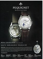 Publicité Advertising 2012 La Montre Pequignet Royal Grand Sport