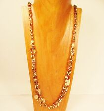 "36"" Long Gold Multi Strand Handmade Mixed Seed Bead Necklace FREE SHIPPING!!"