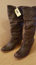 Fly London Brown Leather Pull On Slouch Western Cowboy Boots EU41