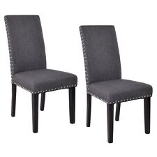 Set of 2 Dining Chairs Fabric Upholstered Armless Accent Home Kitchen Furniture