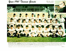 1961 TACOMA GIANTS PCL TEAM 8X10 PHOTO  PERRY  MOTA SAN FRANCISCO BASEBALL