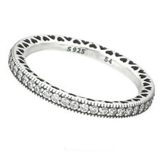 HEARTS Ring 925 Solid Sterling Silver Heart Pave Stacking Band Size 7 / 54