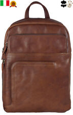 New Brown Italian Genuine Leather Backpack Rucksack Shoulder Travel Bag