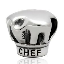 NEW 925 Sterling Silver European Bracelet Charm Bead Chef Hat Cooking