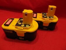 Lot of 2 Ryobi 18v ONE+ P100 NiCad batteries. Non working--for parts or repair