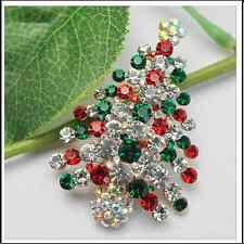 Alloy Gold Plated Multicolored Rhinestone Christmas Tree Gift Brooch Pin