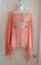 PRETTY ANGEL CORAL/SALMON LACE TUNIC/BLOUSE/COVERUP