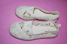 Toddler Girls Shoes BEIGE CROCHETED CASUALS Slip On Flats BOAT DECK Fabric SZ 11