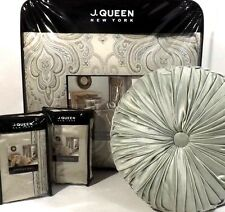 7PC J QUEEN Romance QUEEN COMFORTER SET Spa Embroidered Medallion EUROS PILLOW
