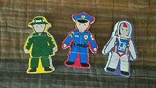 Three Wood Magnetic Toy Puzzle Men Policeman Fireman Astronaut