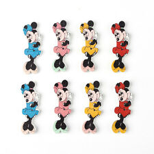 10 WOODEN MINNIE MOUSE BUTTONS - CRAFT - SCRAPBOOK - SEW -CARDS - EMBELLISHMENTS