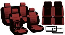 Black/Red PU Leather Seat Covers Tribal Floor Mats License Plate Frames 17pc CS9