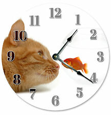 GOLDFISH FISH BOWL AND ORANGE CLOCK Large 10.5 inch Wall Clock, CAT LOVER - 2173