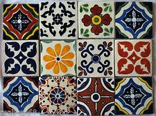W145  - 12 Mexican Ceramic Talavera Tile 4x4 Mosaic Mural