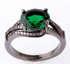 Jewelry Size8 emerald CZ Fashion Black 18K Gold Filled Rings 2.26ct BB65