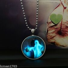 GHOST TRICK R TREAT GLOW NECKLACE SILVER CHAIN CABOCHON PENDANT SUPERNATURAL NEW