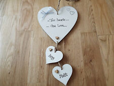 Personalised Engagement, Wedding Gift wooden hanging Hearts sign shabby chic
