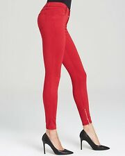 $198 NWT J BRAND 24 Sateen Red Redburn Mid Skinny Ankle Zip Zipper Denim Jeans