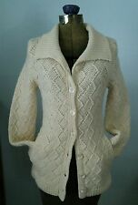 Vtg chunky basketweave wool Hand Knit cardigan Long shawl collar sweater coat S