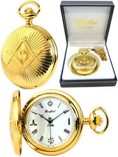 Woodford Masonic Hunter Pocket Watch Gold-Plated Case Swiss Quartz Movement 1214