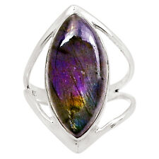Spectrolite Labradorite From Finland 925 Silver Ring Jewelry s.9 9458R