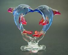 Glass DOLPHINS, 2 Red & Blue Playing Dolphins Glass Ornament Glass Animals Gift