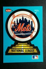 NEW YORK METS LOGO NATIONAL LEAGUE TROPHY BLUE BASEBALL TRADING CARD STICKER