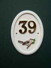 MOCKING BIRD hand-painted Bird Motif house number sign - any number 1 to 999
