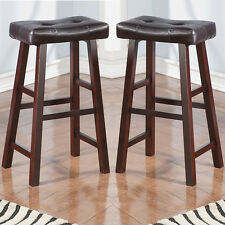 """Set of 2 Dark Brown Faux Leather Seat Cushion Solid Wood 29""""H Saddle Bar Stools"""