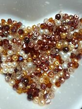 100 Austrian Crystal Glass Bicone Beads And Pearls - Brown Mix - 4mm