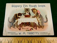 Anthropomorphic Cats Cake Party Slippery Elm Cough Drops Tibbetts Candy Card #T