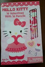 SANRIO HELLO KITTY HAPPY VALENTINES DAY CLASSROOM CARDS WITH 16 PENCILS SEALED
