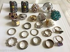 Lot of 23 Costume Fashion Jewelry band Rings silver & gold plate crystal CZ