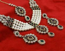 Indian Traditional Goldtone Necklace Earring Tikka Set Bollywood Bridal Jewelry