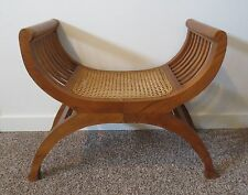 CURULE SEAT -ANTIQUE WOODEN NEOCLASSICAL CANED STOOL CHAIR FRENCH EMPIRE WOOD