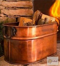 Antiqued Copper Firewood Holder Bucket Tub Indoor Outdoor Fireplace Hearth