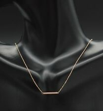 PM172 14k Solid Rose Gold Bar Necklace chain, Stick Bar Necklace