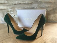 JIMMY CHOO ANOUK EVERGREEN SUEDE HEELS - SIZE 38/ UK 5