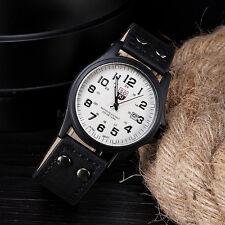 Vintage Men's Waterproof Date Leather Strap Sport Quartz Army Watch NICE