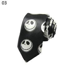 UNISEX 5CM blck&white Skinny Slim Punk Skull Tie Satin Party Necktie Halloween