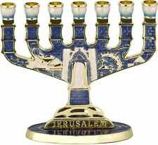 Judaica 7 Branch Jerusalem Menorah with Blue Enamel and Golden Undertones