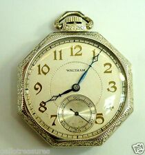 14K White Gold Vintage 17 Jewels Waltham Pocket Watch 58.5g Perfect Condition