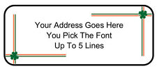 60 Custom Personalized Irish Shamrock Border Return Address Mailing Labels