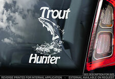 Trout Hunter - Car Window Sticker  - Leaping, Fish, Fishing Sign- not.Pike, Boat