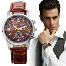Luxury Crocodile Leather Men's Quartz Analog Business Watch Watches Brown Gift