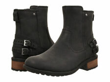 Ugg Orion Womens 1007769 Blk Black Leather Buckled Heel Boots Shoes  Sz 6