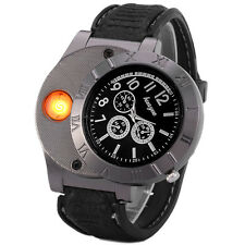 Huayue Electronic Lighter Quartz Watch USB Rechargeable (Black Silver)